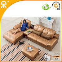 ( 3seat +1lounge +1 ottoma+1 tea table  lot) 2014  leather sofa with tea table  #CE-565