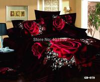 Hot Sale Reactive Printing Comforter Bedding Sets 3D Rose 100% Cotton Bed Set Duvet Cover Flat Bed Sheet Pillow Cases King Size