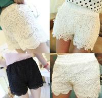 Women High Waisted Crochet Lace Trim Flower Shorts Culottes Short Hot Shorts Safety Panty Pantskirt Skort 4 Style Summer 2014