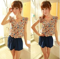 2014 summer fashion hot sale Floral print romper for women ruffle jumpsuit free shipping