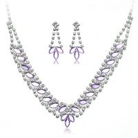 Women Silver Plated Rhinestone Bridal Flower Pendant Necklace Drop Earrings Wedding Party Prom Jewelry Set Sets B38176