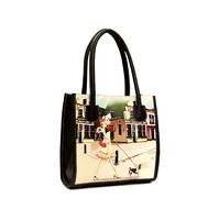 2014 Fashion Women Leather Handbags PU Designers Brand Vintage Printing Handbag Oil Painting Small Shoulder Bag Women Desigual