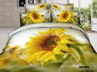 Home Textile Bedding Sets 100% Cotton 3D Reactive Printed Sunflower Bed Set Duvet Cover Flat Bed Sheet Pillow Cases King Size