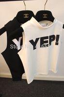 Korea 2014 summer vintage all-match yep letter print sleeveless vest short design t-shirt