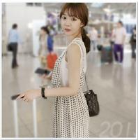Free shipping, 2014 summer new women dress Korean fake two sub plaid chiffon dress strap dress