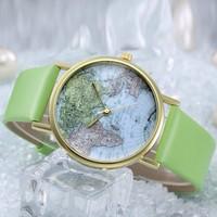 New Fashion GENEVA World Earth Map Women Hour Wholesale fashion leather strap quartz watch wrist watches women Ladies New Clock