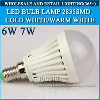 5pcs/lot LED bulb lamp High brightness lights E14 4W 5W 6W 7W 2835SMD Cold white/warm white AC220V 230V 240V Free shipping