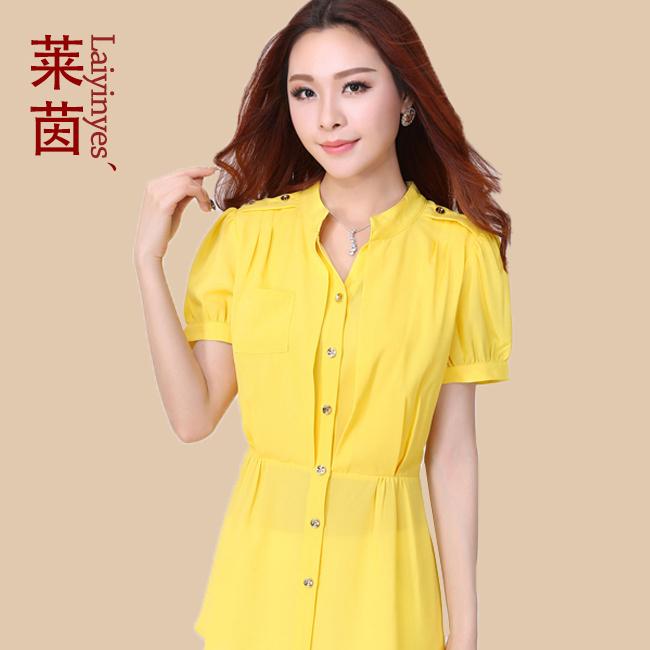 Mulheres Blusa Nova 2014 Blusa Moda Feminina 4XL Plus Size Chiffon Blusas Mulher Roupa Cardigan Verão Tops Femininos Shirts(China (Mainland))