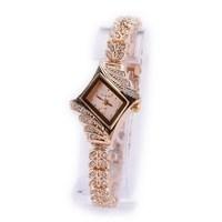 Korean Leisure Style  Rhombus Diamond Rose Golden Bracelet Watch