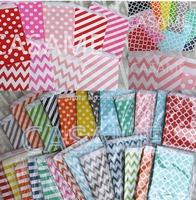 150pcs mix 6 patterns paper bag biodegradable food bag BBQ B-day wedding tablewear favor bag party decor 51 colors  Gift Bag