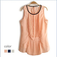 2014 New summer women's fashion exquisite pleated slim sleeveless chiffon shirt in stock on sale