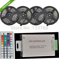 NEW 20M (4PCS X 5M) Waterproof SMD 5050 RGB Black PCB 300LED Strip Light 12V DC decorative lighting + 24A 44 Key Remote