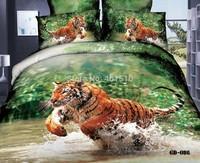 Hot! Home Textile Bedding Sets 100% Cotton Tiger 3D Reactive Printed King Size Bed Set Duvet Cover Flat Bed Sheet Pillow Cases