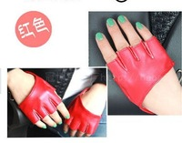 Free Shipping Ladies Lace Trim Sheepskin Leather Fingerless Half Gloves 100pairs/lot wholesale
