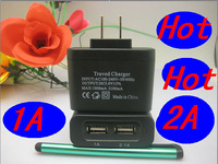 2pcs/lots AC 100-240V /DC 5V 2A Dual USB US Adapter for TAB and Pad Supply Wall Home Office mobile phone charger