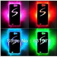 New arrival Grid LED Sense Flash LED light Case Back Cover Glowing Case for Samsung I9500 Galaxy S4 SIV 200pcs