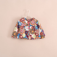 promotion!2014 hot sale 100% cotton children girl autumn floral short jackets coats 3 color 2-8 years