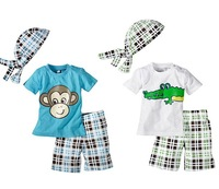 Retail 1Set Summer Baby Boys Monkey 3 Pcs Suits(Tops +Hat+ Plaid Shorts) For 1-5 Yrs Children Cartoon Crocodile Clothing Set