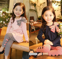 New Children's Fashion Clothing set Girl Stripe Bow clothing Pullover+Leggings Fashion Spring 2014 Causal kids clothes