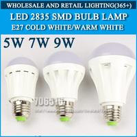 10pcs/lot led bulb lamp High brightness lights E27 5W 7W 9W 2835SMD Cold white/warm white AC220V 230V 240V Free shipping