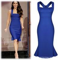 2014 new European and American women's dress sexy evening dress flouncing Slim women summer dressXL XXL