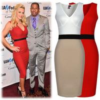 2014 Hot new European and American fashion sexy V-neck Slim dress evening dress XL XLXXL