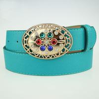 New fashion wide leather belt Metagems rhinestone adornment belt