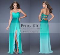 vestidos de fiesta 2014 gradient color beaded side slit cross back sweetheart strapless elegant hottest prom dress customer made