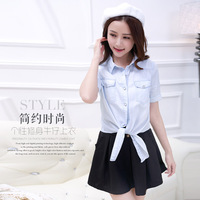Big Promotion 2014 Summer Short Sleeves Female  Casual Shirts Fully Thin Cotton Women Jeans Blouse Slim Fit Girls Denim Shirt
