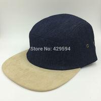 High quality denim crown suede brim hip hop hat custom blank 5 panel headwear camp cap hat