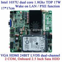 Custom 1037U motherboard DC12V HTPC advertising mini itx slim motherboard M21dual channel LVDS 22nm 3G WIFI SSD SIM Card 2COM