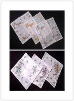 6pcs High quality  ladies handkerchief  white with Love Birds flower women's hanky pocket square 100% cotton  11.81Inch(30cm)