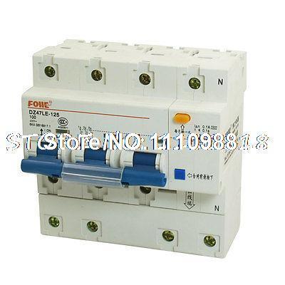 Ac 400 V 100 Amp 6KA 3 P 3 P + N miniatura disjuntor DIN Rail DZ47LE-125(China (Mainland))