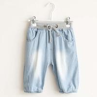 Free Shipping 2014 New Summer Kids' Pant  Boy & Girl Kids Jean Pants Regular Waist Rope Wash Jean Trouser For Girl