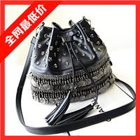 2014 summer fashion rivet national trend all-match women's pumping handbag tassel  bag messenger bag