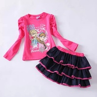 ems new girls frozen elsa and anna clothing sets  children Autumn long sleeve clothes suit   free shipping