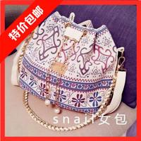Bucket  chain pearl chain smoke canvas  shoulder  messenger bag handbag women's
