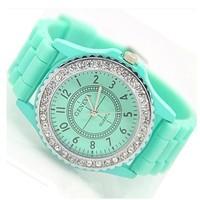 Women Jelly Geneva Quartz Watch Silicone Strap Rhinestone Alloy Case 15 Color 2014 New Fashion Relogio Feminino Dress Wristwatch
