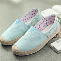 2014 female canvas shoes breathable shoes lazy low flat casual shoes cotton-made women's shoes