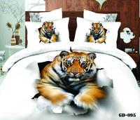 New 4 pcs White 3D Bedclothes Bedding Set 100% Cotton Reactive Printing Tiger Bed Set Duvet Cover Flat Bed Sheet Pillow Cases