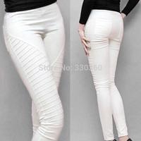Black/white Legging Pants 2014 Ladies Plus Size Leggins Striped Pocket Leggings Women Pencil Pants Fitness Elastic Jegging