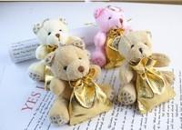 Wholesale 100pcs/lot Wedding candy Teddy Bear Plush Pendant Mini Teddy Bear Toys For Keychain/Wedding Gifts/Promotional Gifts
