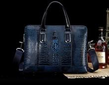 New 2014 Top Designer Crocodile Skin Men Briefcase Leather Handbag Shoulder Messenger Bag business Laptop Bag Free shipping(China (Mainland))