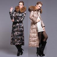 2014 big raccoon fur collar thick knee gilded leopard genuine long down jacket women