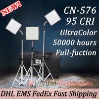 3pcs NANGUANG CN-576 Hight CRI UltraColor LED Video Light Panels with 3 Light Stands & 1 Case Bag Kit