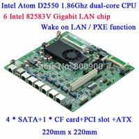Wholesale Atom D2550 multiple network routing software firewall motherboard D25SL 6 Gigabit Lan 82583V 4SATA 2RS232 CF PCI slot