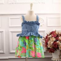 2014 New,girls floral slip dress,children denim dress,green/yellow,1-7 yrs,5 pcs/lot,wholesale kids clothing,1450