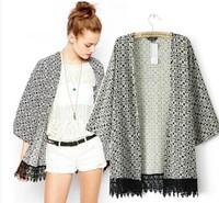 Brand New 2015 Fashion Women's Vintage Geometric Print kimono Stylish long design Cardigan Blouse Blouses Jacket SML