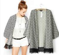 Brand New 2014 Fashion Women's Vintage Geometric Print kimono Stylish long design Cardigan Blouse Blouses Jacket SML