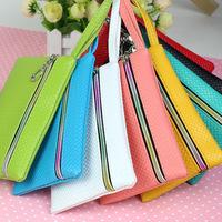 Neew! Fashion Pu Leather Coin Purse Women Wallet Daily Storage Change Purse Plaid Clutch for iPhone Galaxy Ladies Handbag